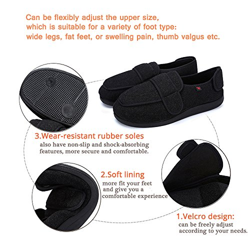 NEPPT Orthopedic Slippers Diabetic Velcro neuropathy Safety Shoes Extra Wide Sneakers Flat Feet Personalized Slippers For Women & Men Men-black LdVTR