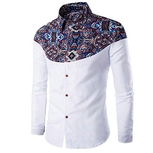 Men's T-shirt, Leegor Fashion Printing Long-sleeved Slim Cotton Bottoming shirt (XL, White)