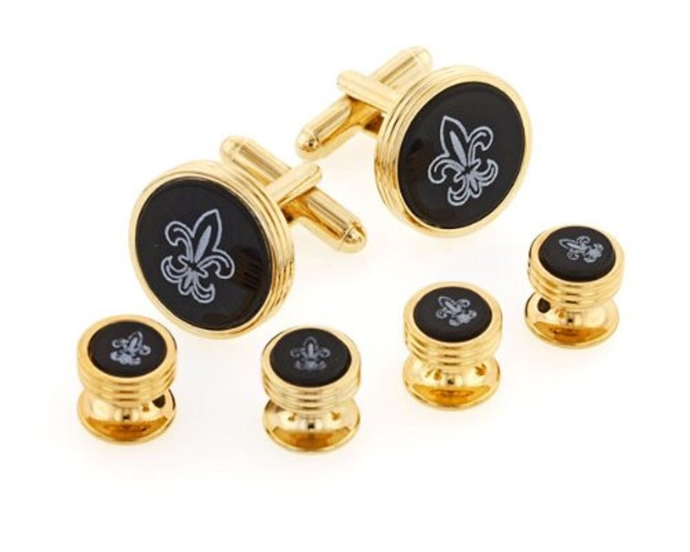 JJ Weston Onyx Etched Fleur de Lis Tuxedo Cufflinks and Shirt Studs. Made in the USA.