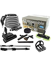 VPC Central Vacuum Accessory Kit - Silver Hose - Deluxe Electric Power Nozzle PN33 Black - Telescopic Wand with Deluxe Tool Set - Handle with 3 Way Button Switch - with Bonus Tools