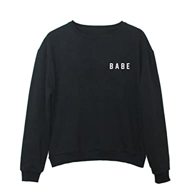 925f0079dc763 YITAN Women Graphic Cute Sweaters Funny Pullover Teen Girls Sweatshirts  Black Small