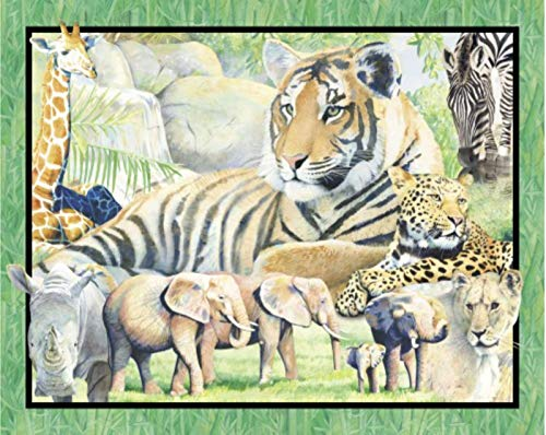 (It's Zoological Wallhanging Rhino Lion Tiger 100% Cotton Fabric by The Panel)