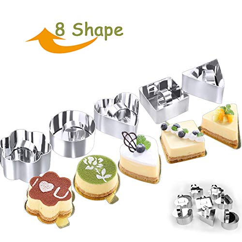 1 set (6 pc) Mousse Cake Molds DIY Stainless Steel Square Flower Round Shape Mousse Ring Cake Biscuit Cookie Bakeware