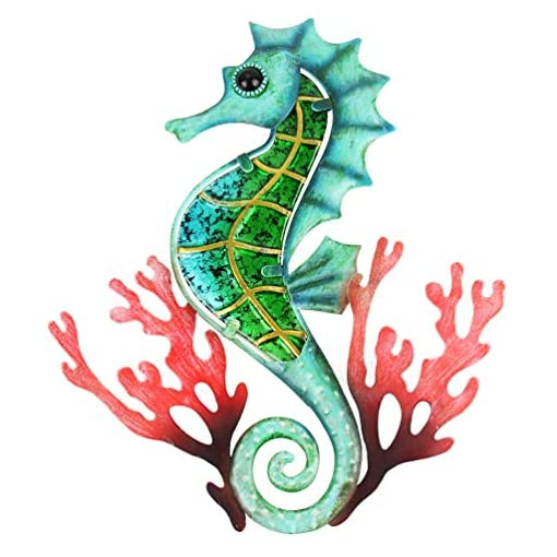 Hongland Metal Seahorse With Coral Wall Decor Indoor Art Sculpture Hanging Glass Decorations Blue For Home Garden Bedroom Beachfront Decor