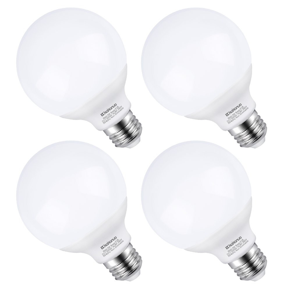 G25 LED Vanity Light Bulb 5W, Kakanuo 40W Globe Bulb Equivalent, Round Bathroom Makeup Light Bulb, Daylight White 5000K, Pack of 4