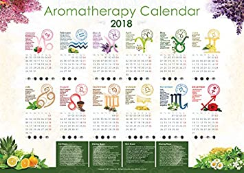 2018 Aromatherapy Calendar Wall Planner, Zodiac Signs, Essential
