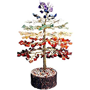 FASHIONZAADI Crystal Seven Chakra Bonsai Money Tree Feng Shui Healing Crystals Stones Gemstone Trees Natural Stone Chakras Home Office House Décor Gift Health Prosperity Size 10 inch (Golden Wire)