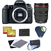 Canon EOS 77D DSLR Body - Bundle with Canon EF 24mm-105mm f/4L IS USM Lens, LPE-17 Battery, Phottix 32in 5-in-1 Reflector, 2x Sandisk CF Card, Gray Card Exposure Aid 3-Pk, Think Tank10 CF Card Wallet