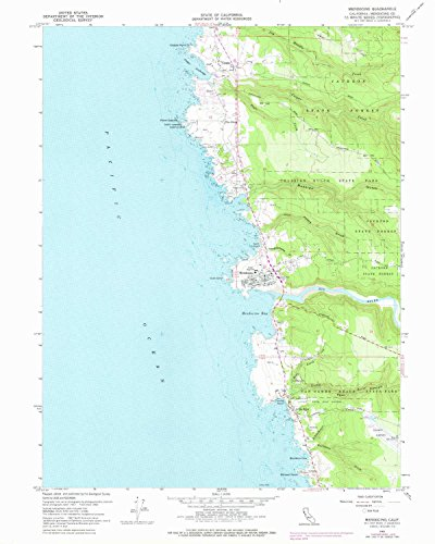 YellowMaps Mendocino CA topo map, 1:24000 Scale, 7.5 X 7.5 Minute, Historical, 1960, Updated 1978, 26.9 x 21.5 in - Paper