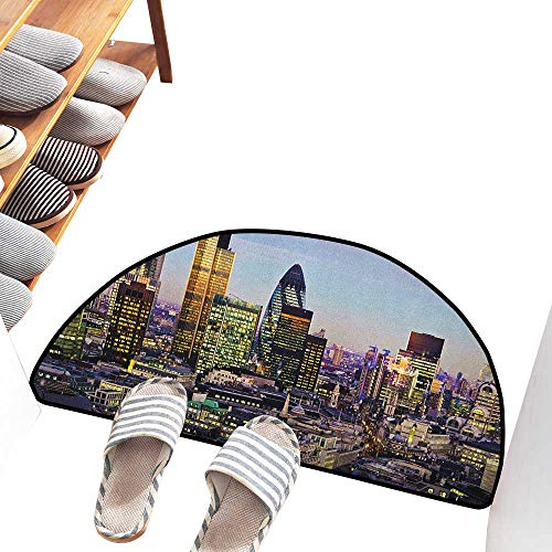 (Axbkl Washable Doormat City Modern Architecture of Downtown London Center of Global Finance Famous Capital City Quick and Easy to Clean W24 xL16 Multicolor)