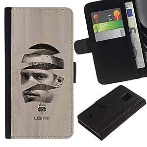 Paccase / Billetera de Cuero Caso del tirón Titular de la tarjeta Carcasa Funda para - Art Man Hot Air Balloon - Samsung Galaxy S5 Mini, SM-G800, NOT S5 REGULAR!