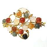 KARATGEM Natural Jadeite Jade Brooch Pin Vintage GP Pins and Brooches Multi Color Gemstone