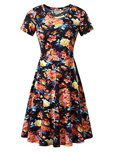 Women Short Sleeve Round Neck Summer Casual Flared Midi Dress (Large, Orange Peony)