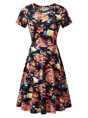 (HUHOT Women Short Sleeve Round Neck Summer Casual Flared Midi Dress (Small, Orange Peony))