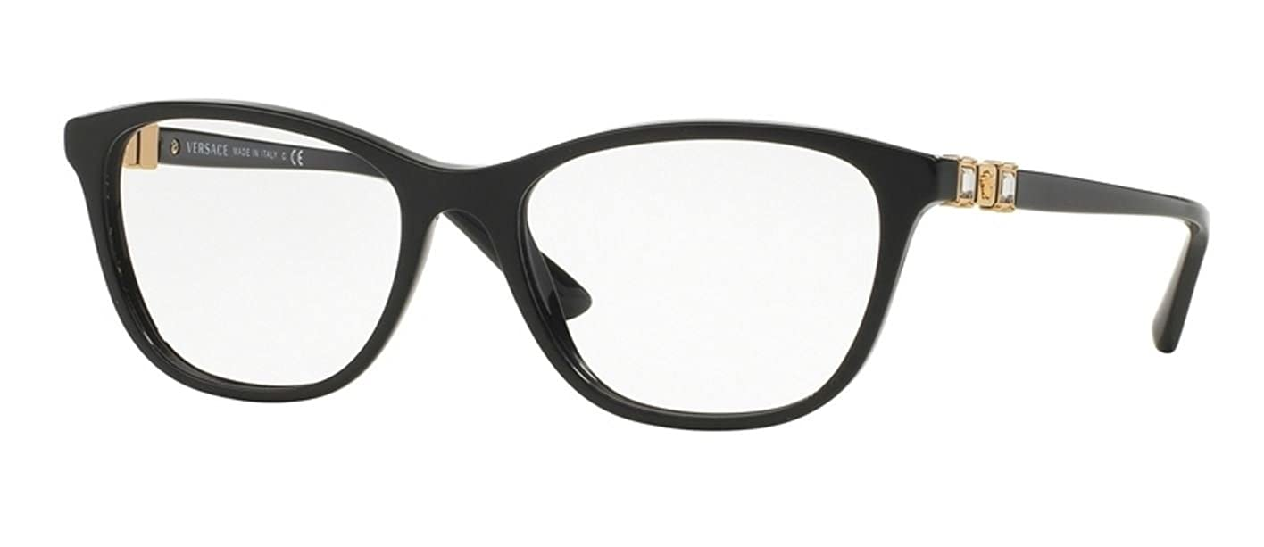 e7654f1d262 Amazon.com  Versace VE3213B Eyeglass Frames GB1-52 - Black VE3213B-GB1-52   Clothing
