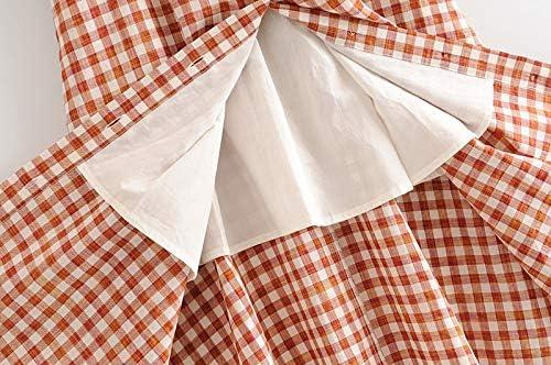 Vrouwen elegante geruite jurk pofmouw knielengte jurken Lady Single Breasted vierkante kraag Midi Dress Mujer