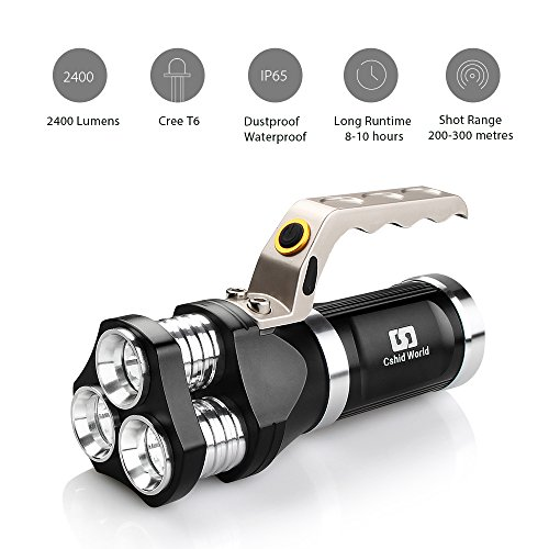 Rechargeable LED Searchlight Tactical Flashlight CREE T6 Spotlight 2400 Lumens IP65 Waterproof Handheld Floodlight For Camping, Hiking and Emergencies Including Battery Wall Charger (Black)