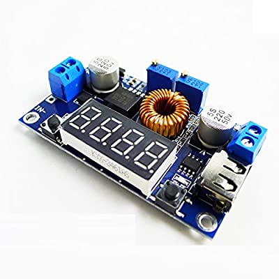GEREE DC Buck Volt Regulator Converters Constant Voltage & Current 5-36V to 1.25-32V 5A CC CV LED Drive Lithium charger Power Step-down Module with Digital LED Display Voltmeter USB Output Interface