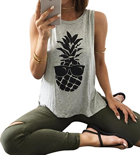 Fashion Pineapple Printed Tank Top for Women Sleeveless T Shirt Casual Girls Tees Vest