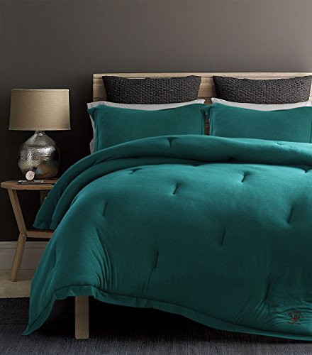 Beverly Hills Polo Club Solid Cotton Rich Ultra-Soft Jersey Knit 3 Pieces Comforter Set,1 Comforter, 2 Pillow Shams (Queen, Teal)