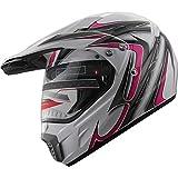 Motocross Dual Sport Off Road Dirt Bike ATV Motorcycle Helmet 406_179 Pink/White w/Visor (Med)