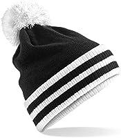 Beechfield Varsity Mens Winter Beanie Hat (One Size) (Black / White)
