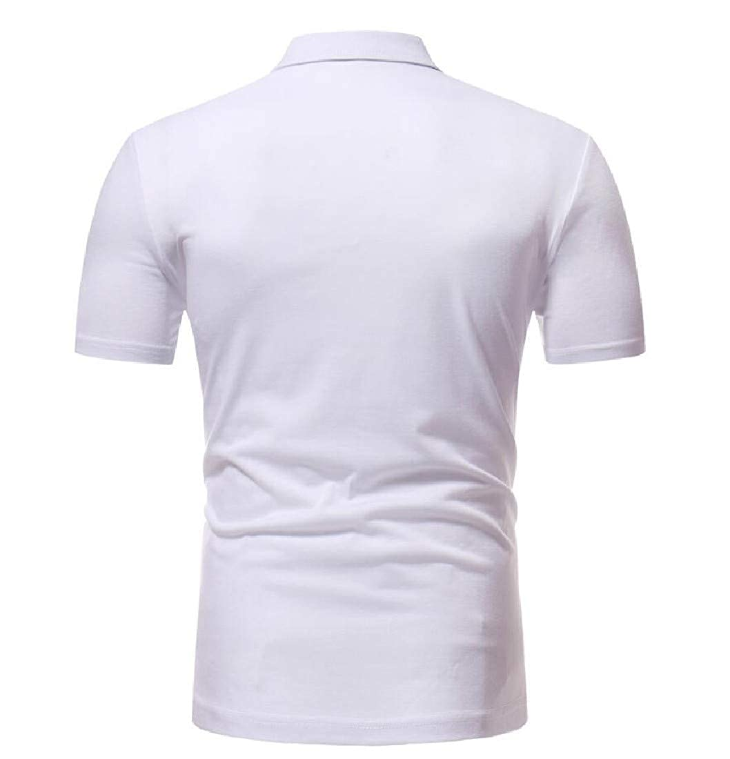 Mirrliy Mens Leisure Lapel Polo Ethinic Style Down Tops T-Shirt
