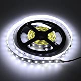 elcPark 5m/16.4ft No-Waterproof Cool White SMD5630 Flexible LED Strip Light 300LED DC 12V 5A 60W