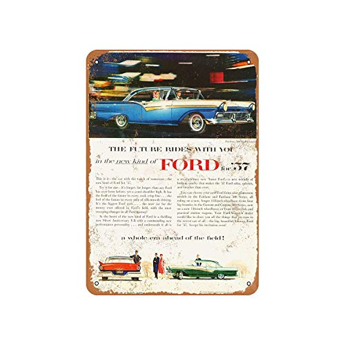 Fhdang Decor Vintage Pattern 1957 Ford Fairlane 500 Club Victoria Vintage Look Aluminum Sign Metal Sign,6x9 Inches