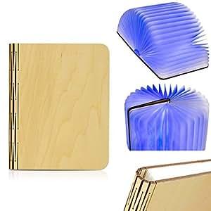 Excelvan Led Luz Plegable de Libro Madera (2500Mah, Portátil, Booklight, Recargable USB, Magnético), Azul