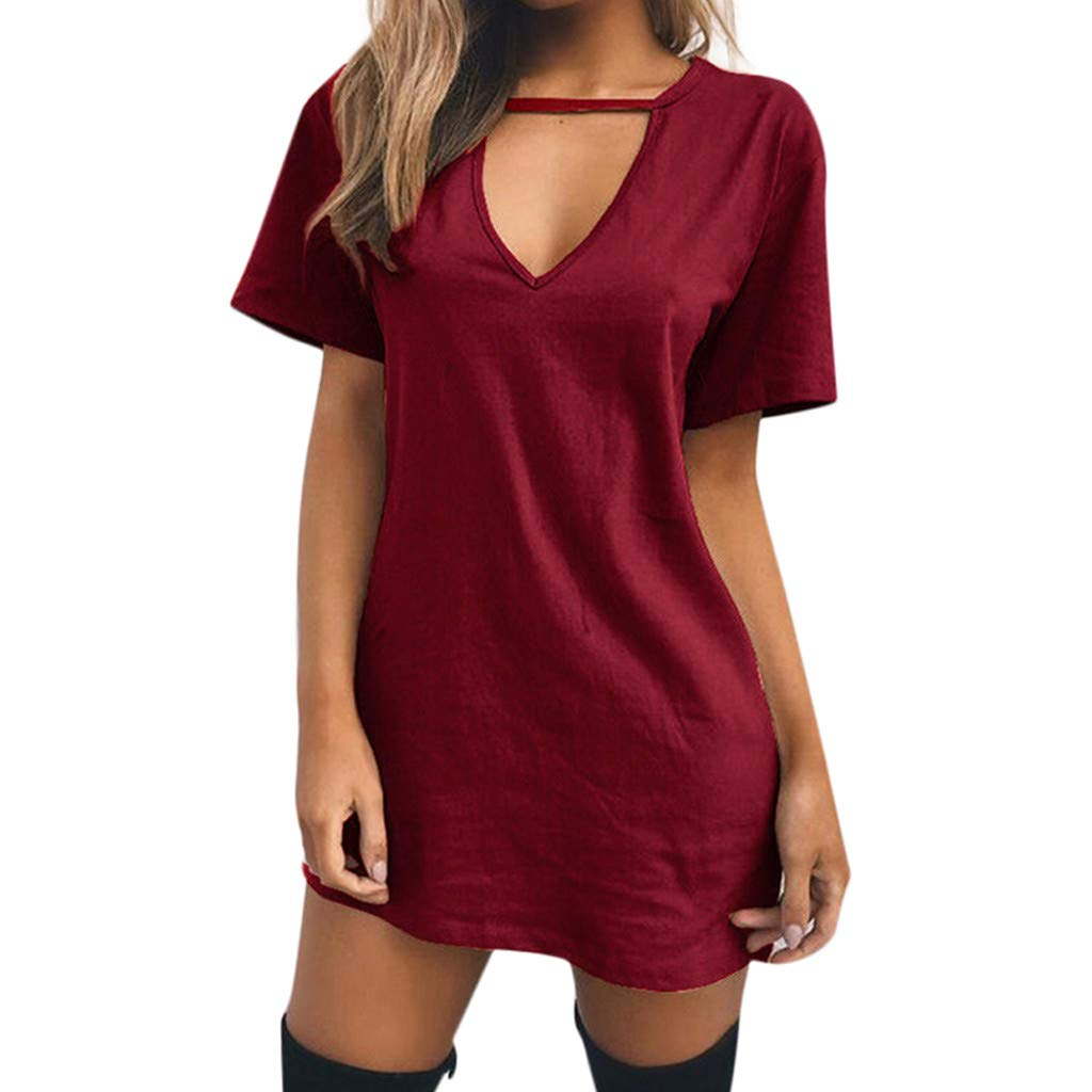 CUTUDE Damen Kleider Röcke Kurzarm Sommerkleider Freizeit Volltonfarbe V-Ausschnitt Lange Tops T-Shirt Minikleid Festlich Partykleid