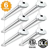 Utility Linkable 40W 4FT LED Shop Light, Pull Chain Hanging Light Fixture 4800 Lumens 5000K Daylight, Double Fixtures with Ferrum Housing Indoor illumination for Garage Warehouse Workbench 6 pack