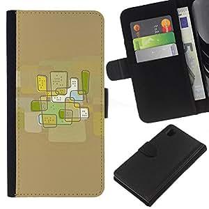 WINCASE Cuadro Funda Voltear Cuero Ranura Tarjetas TPU Carcasas Protectora Cover Case Para Sony Xperia Z1 L39 - ciudad de arte abstracto de color marrón