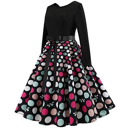 GXYCP Lunga Abito Natale Wear Girocollo Manica Halloween Casa Stampato Donna XXL Dress Per Vintage Swing Party Casual XXdBrw