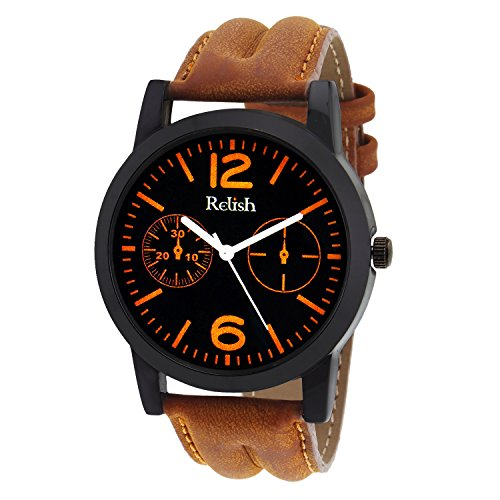 Relish Casual Tan Leather Strap Men's Watch RELISH-537