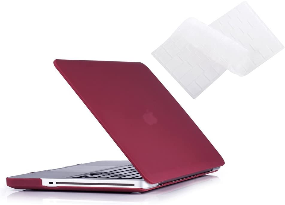 MacBook Pro 13 Case 2012 2011 2010 2009 Release A1278, Ruban Hard Case Shell Cover and Keyboard Skin Cover for Apple MacBook Pro 13 Inch with CD-ROM - Wine Red