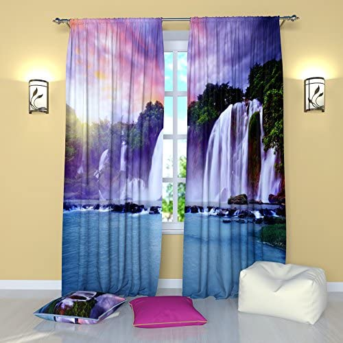 Factory4me Landscape Curtains Waterfall Falls. Window Curtain Set of 2 Panels Each W52 x L96 Total W104 x L96 inches Drapes