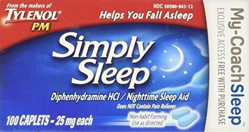 Tylenol Simply Sleep Nighttime Sleep Aid Caplets-100 count - Buy Packs and Save (Pack of (Sleep Caplets)