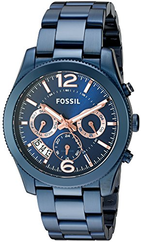 Ladies Fossil Blue Dial - Fossil Women's Perfect Boyfriend Quartz Stainless Steel Chronograph Watch, Color: Blue (Model: ES4093)