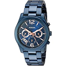 Fossil Women's Quartz Stainless Steel Casual Watch, Color:Blue (Model: ES4093)