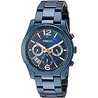 Fossil Women's Perfect Boyfriend Quartz Stainless Steel Chronograph Watch, Color: Blue (Model: ES4093)