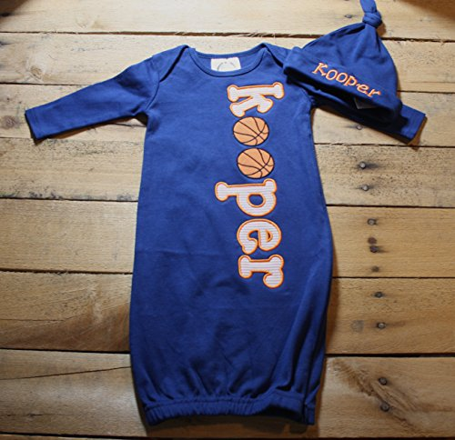 Personalized Baby Gown Hat Basketball Set Monogrammed Customized Applique Embroidered Baby Shower Coming Home Outfit - Basketball Hat Embroidered