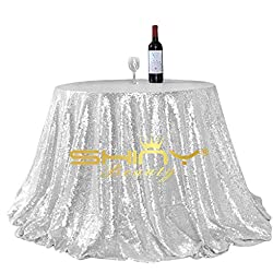 ShinyBeauty Glitter Silver 90Inch Round Sequin Tablecloth, Sequin Table Cloth, Sequin Table Overlay,Sequin Table Cover, Sequin Table Linen for Wedding Party Event