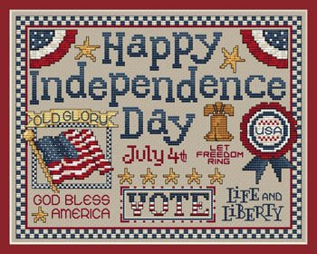 Happy Independence Day Cross Stitch Chart