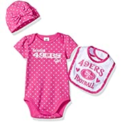 Gerber Childrenswear  Sweetest Bodysuit, Bib & Cap Set, 3-6 Months, Pink, San Francisco 49ers