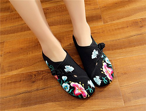 Casual Morning Womens Fanwer Walking Glory National Black Flats Embroidered Square Deep Shoes Dancing Cloth 0qw5dwU