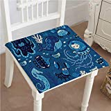 Outdoor Chair Cushion Deep with Like s Whale and Moss Print Blue Comfortable, Indoor, Dining Living Room, Kitchen, Office, Den, Washable 26''x26''x2pcs