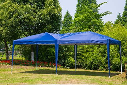 Blue Canopy Gazebo - Erommy 10 x 20 ft Outdoor Pop Up Canopy Tent Portable Folding Pavilion Gazebo with Carry Bag,Blue
