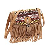 FXTXYMX Fringe Purse Tassel Shoulder Bucket Bag Crossbody Hobo Bag Handbag for Woman and Teen Girls (Light Brown)