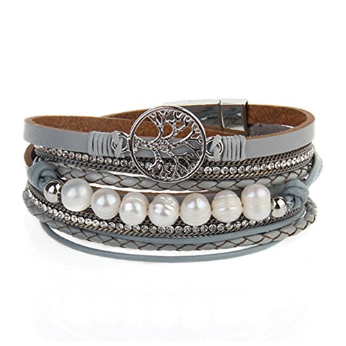 AZORA Tree of Life Leather Wrap Bracelet Pearl Cuff Bangle Handmade Friendship Jewelry for Women Girls ()